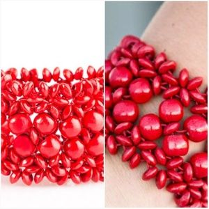 TROPICAL BLISS RED WOODEN STRETCHY BRACELET